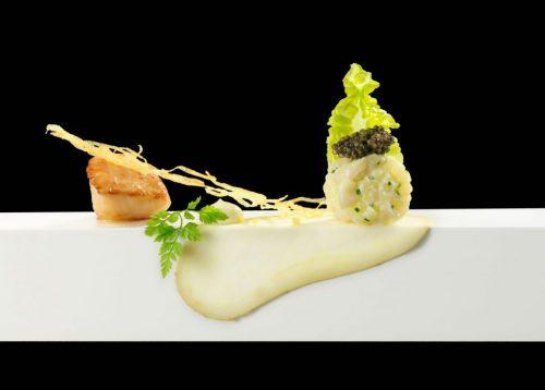 coquille met aardappel en kaviaar
